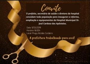 CONDEÚBA – 158 ANOS: O Prefeito e o Secretário de Saúde convidam todos para a reinauguração do Hospital Municipal